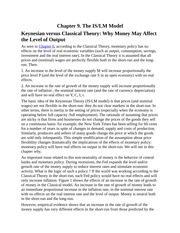 The IS and LM Model, Keynesian versus Classical Theory, Saving and Investment, Money and The Rate of