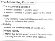 The accounting equation and financial statement