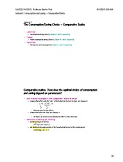 Lecture 9 Comparative statics for saving