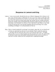 Written comm response to lamont and king