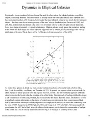 Galaxies and the Universe - Dynamics in Elliptical Galaxies
