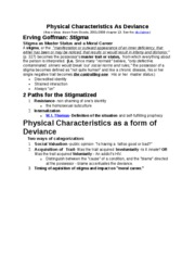 Physical Characteristics As Deviance