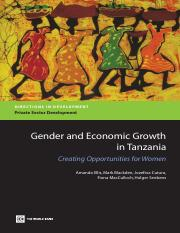 Amanda Ellis, Mark Blackden, Jozefina Cutura Gender and Economic Growth in Tanzania Creating Opportu