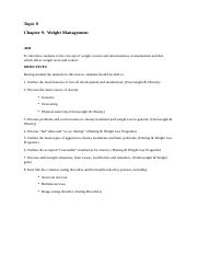 Topic 8 Objectives Weight Management