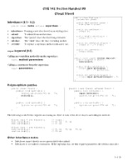 CSE 142 Section Handout #9 1 of 10  Cheat Sheet