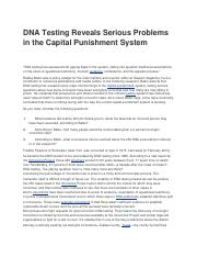 DNA Testing Reveals Serious Problems in the Capital Punishment System.docx