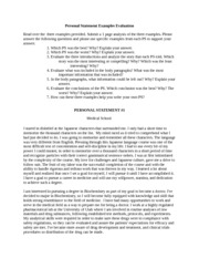 Personal Statement Examples Evaluation