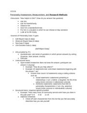 Personality Research methods notes