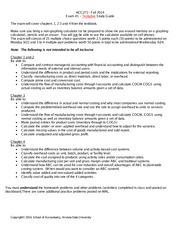 ACC271 Fall 2014 - Exam One Tentative Study-Guide