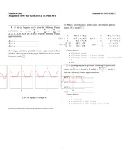 Homework 7 Solutions- Fourier Series (cont.)