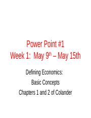 Power Point 1 - Scarcity and Opportunity Cost