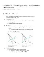 Module 38 - 9.3 Monopoly Public Policy and Price Discrimination.pdf
