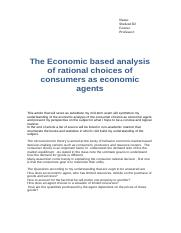 The Economic based analysis of rational choices of consumers as economic agents.docx
