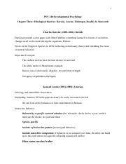 PSY 240 Chapter Three Ethology and Attachment Notes