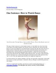 2) How to Watch Dance