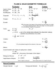 Math 1012 - Test - Final - Geometry Formula Worksheet