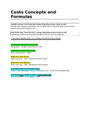 Costs Concepts and Formulas .docx