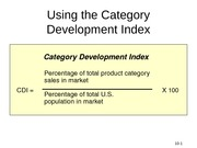 Using the Category Development Index