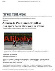 Alibaba Is Positioning Itself as Europe's Sales Gateway to China - WSJ