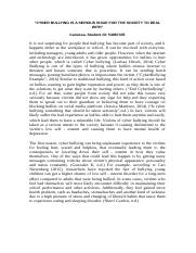 Argumentative essay on bullying