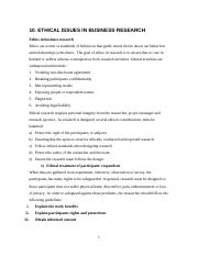 10. ETHICAL ISSUES IN BUSINESS RESEARCH