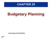 Budgetary Planning Chapter 20