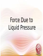 Lesson 19 - Force due to liquid pressure revised