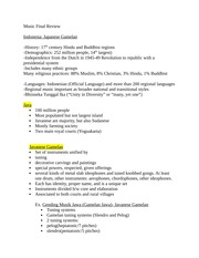 World Music Final Exam Notes/Study Guide on Gamelan and Taiko