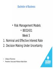 Week 5-DECISION MAKING UNDER UNCERTAINTY(1)
