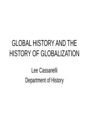 2016.GLOBAL HISTORY & HISTORY OF GLOBALIZATIION