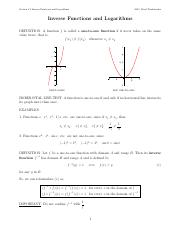 Inverse Functions and Logarithms notes