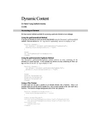 Dynamic Content and accessing elements