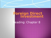 Lecture  4 Foreign Direct Investment