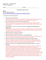 HW 7 Rubric Bed Bug resistance Part I and II