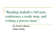 Reading maketh a full man, conference