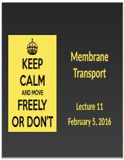 Lecture 11 - Membrane Transport - February 5, 2016.pptx