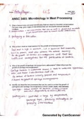 ANSC 3403 microbiology in meat processing notes