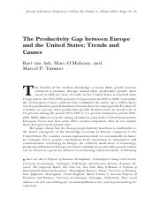 The Productivity Gap Between Europe and the US