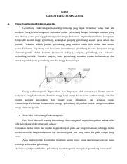 Makalah Fisika Docx Bab I Radiasi Elektromagnetik A Pengertian Radiasi Elektromagnetik Gelombang Elektromagnetik Adalah Gelombang Yang Dapat Merambat Course Hero