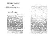 Sartre, Existentialism and Emotions