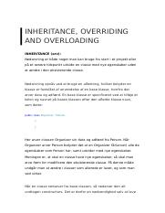 Inheritance, overriding and overloading