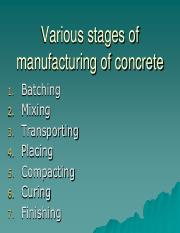 9 - manufacturing, placing, compaction of concrete, underwater concreting