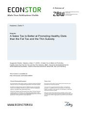 (2016) Zarko – A Sales Tax Is Better at Promoting Healthy Diets than the Fat Tax and the Thin Subsid