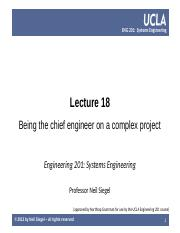 UCLA ENG 201 course  -- lecture 18 -- being the chief engineer on a complex project -- Siegel