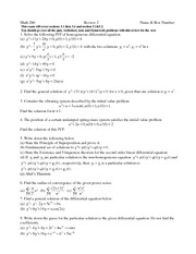 Exam B Review on Differential Equations