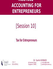 [Session 10] Tax for Entrepreneurs (1)
