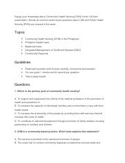 Community Health Nursing questions.docx