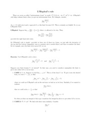 L'Hopital Rule Notes