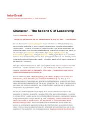 Character – The Second C of Leadership _ Inta-Great