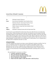 mcdonalds project internal memo example internal memo mcdonalds corporation to mcdonalds board of directors from kiara kevelier rockefeller center